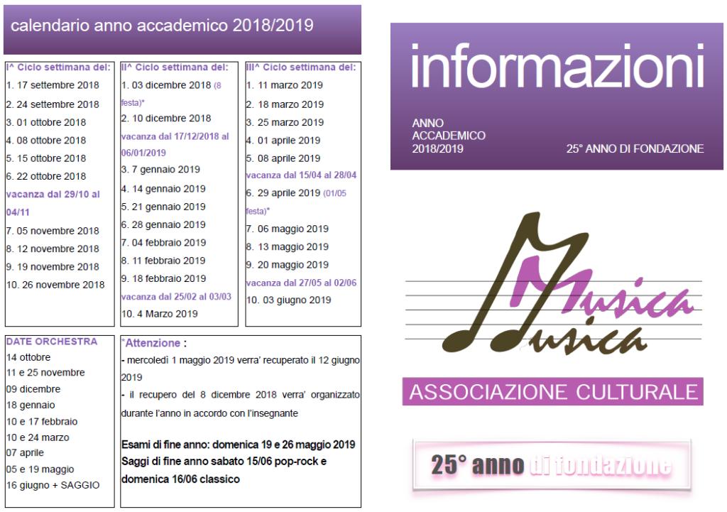 Calendario Settimane Anno 2019.Calendario 2018 2019 Associazione Culturale Musica Musica